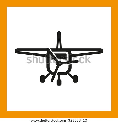 OMNI ICON SERIES: Small private or passenger plane icon 01, commercial airplane travel. Editable EPS vector, black isolated on white background. - stock vector