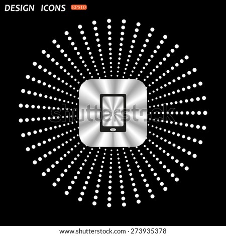 On a black background metallic square with rounded corners. Smartphone, phone, mobile phone. icon. vector design - stock vector