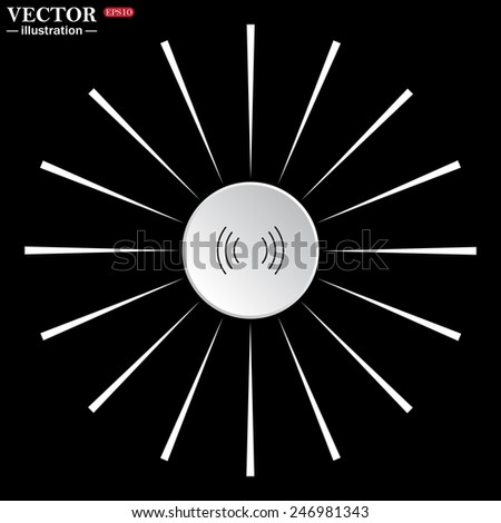 On a black background white circle with white rays. The wireless network , vector illustration, EPS 10