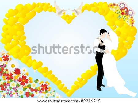 On a blue background depicts an abstract heart, flowers, two white doves and the bride and groom - stock vector
