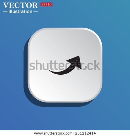 On a blue background white square with rounded corners. arrow indicates the direction, vector illustration, EPS 10 - stock vector