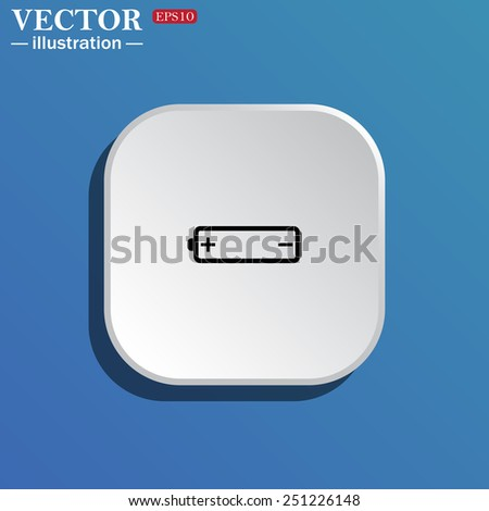 On a blue background white square with rounded corners. battery, vector illustration, EPS 10 - stock vector