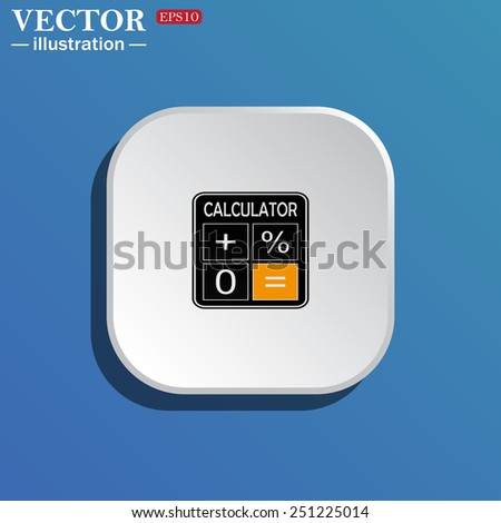 On a blue background white square with rounded corners. calculator, vector illustration, EPS 10 - stock vector