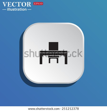 On a blue background white square with rounded corners. desk and chair, a table in the office.  Vector illustration EPS 10 - stock vector