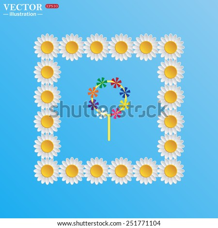 On a blue background with white daisies. Children's toy wind mill, turntables, pinwheel wind vane, vector illustration, EPS 10 - stock vector