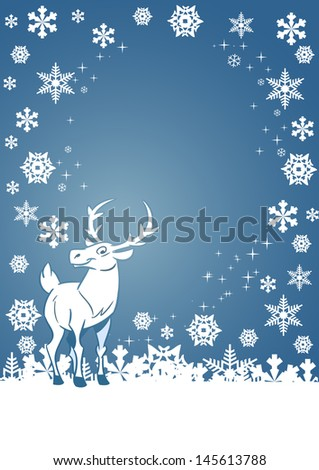 On a Christmas card shows a funny cartoon deer on a background of white snowflakes. Illustration done on separate layers