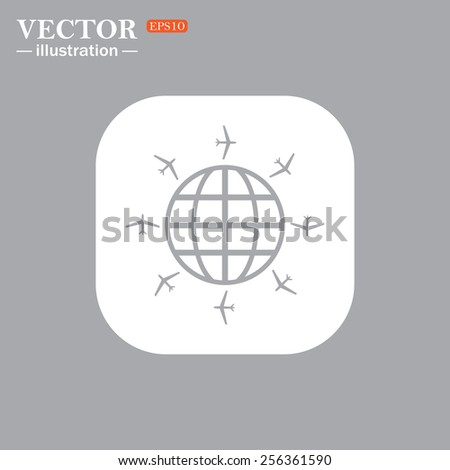 On a gray background gray icon,  Fashion Icon aircraft around the world, vector illustration, EPS 10 - stock vector