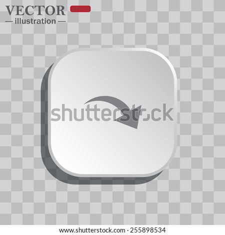 On a gray background white square with rounded corners. icon  arrow indicates the direction, vector illustration, EPS 10 - stock vector