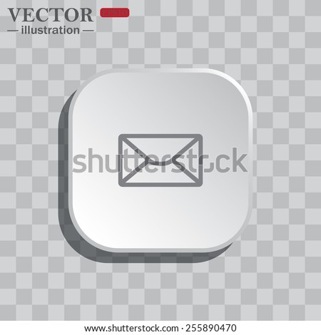 On a gray background white square with rounded corners. icon  Internet e-mail, envelope letter, Globe,  vector illustration, EPS 10 - stock vector