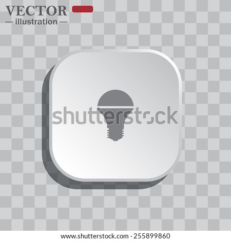 On a gray background white square with rounded corners. icon  LED lamp , vector illustration, EPS 10 - stock vector