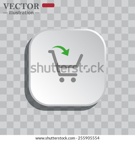 On a gray background white square with rounded corners. icon  put in shopping cart , vector illustration, EPS 10
