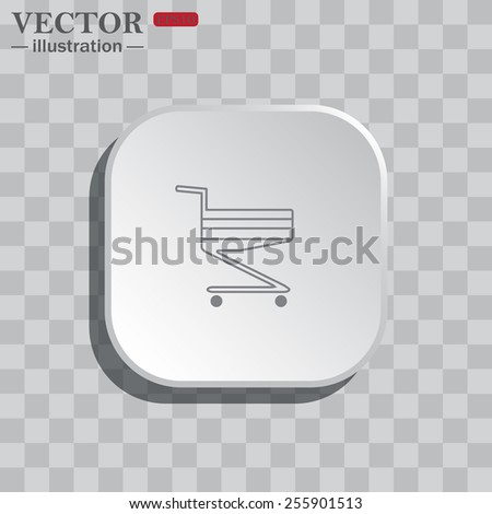 On a gray background white square with rounded corners. icon  Shopping basket , vector illustration, EPS 10