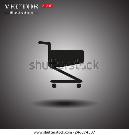 On a gray background with shadow. Case for phone , Shoping basket , vector illustration, EPS 10