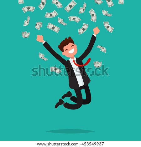 On a man are falling money bills. Joyful businessman jumping from happiness. Vector illustration of a flat design
