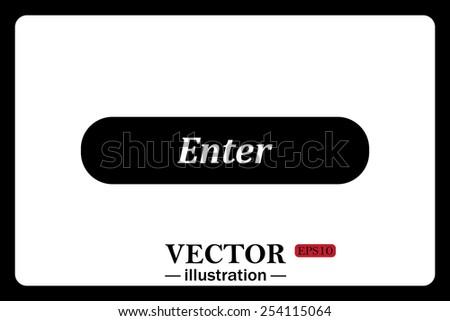 On a white background black  button for a site. Enter. icon. vector design - stock vector
