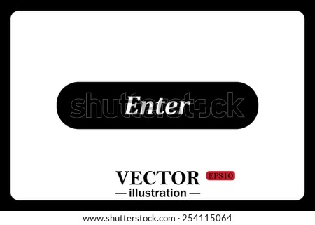 On a white background black  button for a site. Enter. Vector illustration, EPS 10 - stock vector