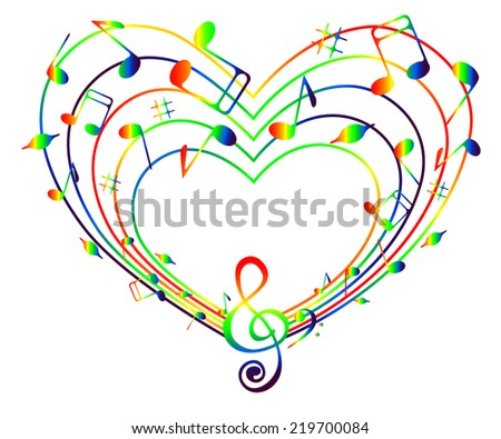 On a white background heart of the rainbow music . - stock vector