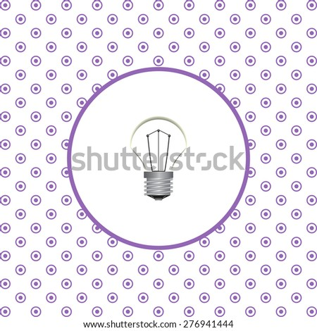 On a white background pink circles. lamp, incandescent bulb. icon. vector design - stock vector