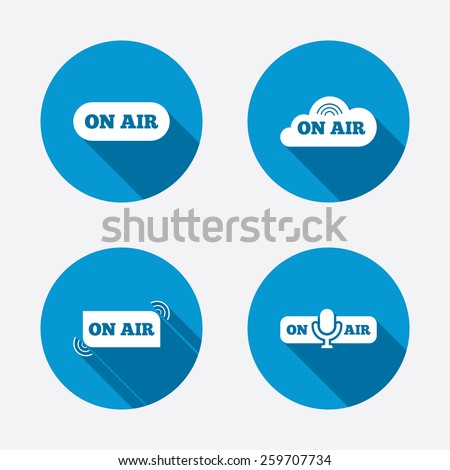 On air icons. Live stream signs. Microphone symbol. Circle concept web buttons. Vector - stock vector