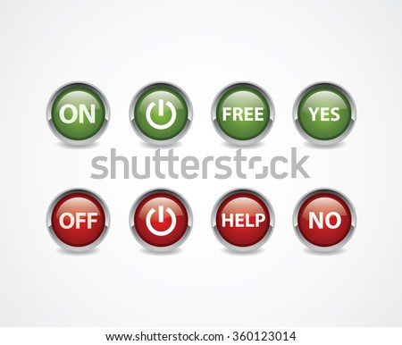 ON and Off Buttons  Vector draw illustration, isolated object, red and green colored buttons.  - stock vector