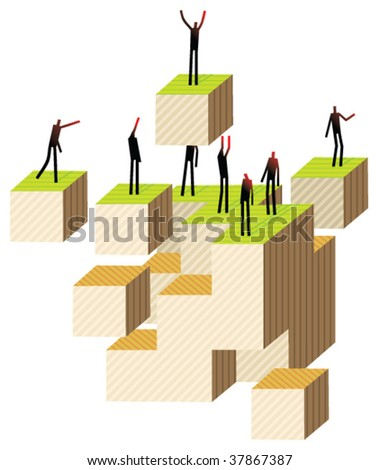 on cubes - stock vector