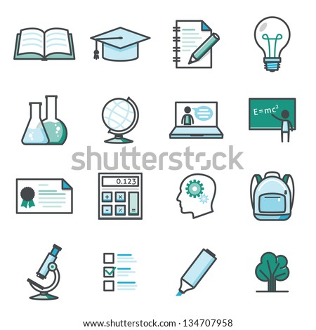 On line learning and education icon set  Harmony series icons. Professional vector icons for your print project or Web site. See more in this series. - stock vector