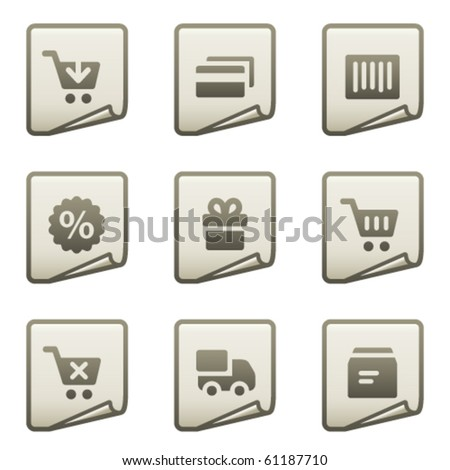On-line shopping web icons, document series - stock vector