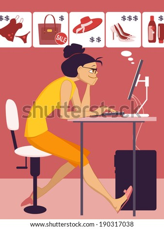 On-line shopping. Young woman sitting at the computer, browsing articles at the on-line store, vector illustration - stock vector