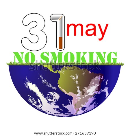 on 31 may, the world day of refusal of Smoking - stock vector