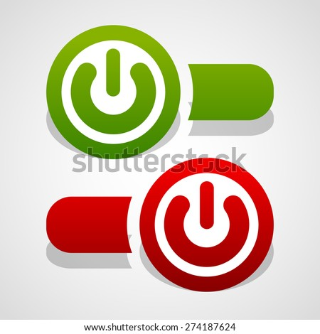 On, off buttons, power switches - stock vector