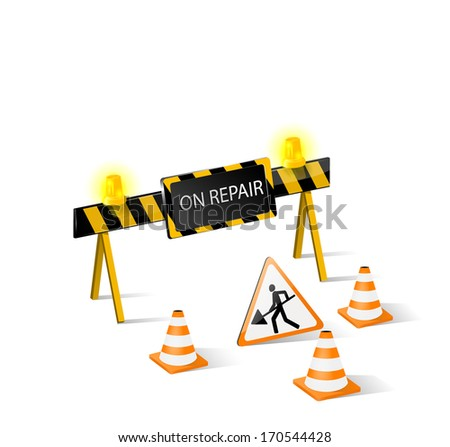 On repair symbol. Road construction barrier, blockade or sign about repair damage. Vector eps 10