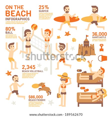 On The Beach Infographics - stock vector