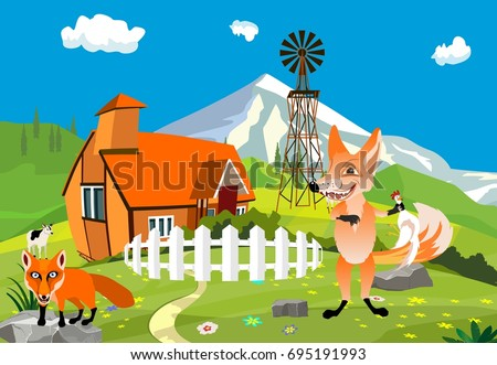 On the farm funny animals chcracters, fox