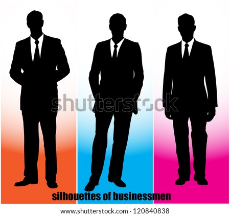 on the image silhouettes of businessmen are presented - stock vector
