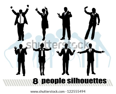 on the image silhouettes of businessmen in movement are presented