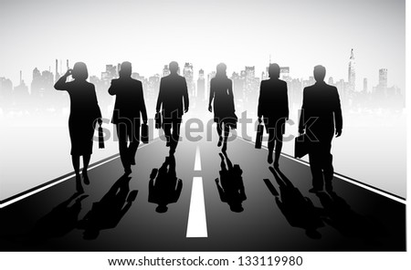 on the image the group of businessmen against the megalopolis is presented - stock vector