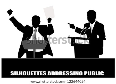 on the image the politician before a microphone is presented - stock vector