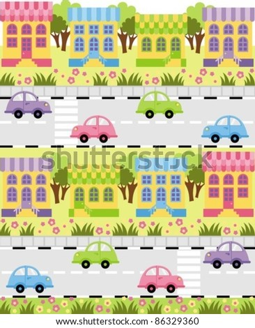 On the roadway outside a small town car ride - stock vector