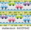 On the way to go machine. Transport route - stock vector