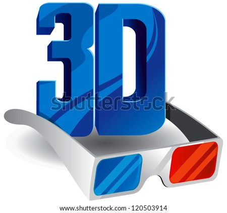 On this illustration 3d glasses are represented - stock vector
