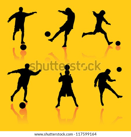 On this illustration silhouettes of the football player in different foreshortenings are represented. - stock vector