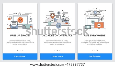 Onboarding Cloud Storage app Screens. Modern user interface UX, UI screen template for mobile smart phone or responsive web site. Vector Illustration