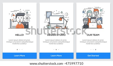 Onboarding Design Studio app Screens. Modern user interface UX, UI screen template for mobile smart phone or responsive web site. Vector Illustration