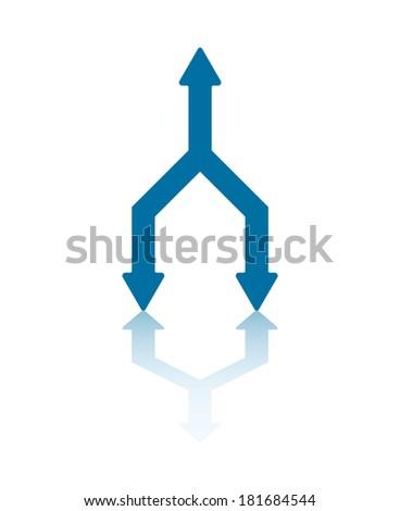 One Arrowhead Transforming Into Two Arrowheads - stock vector