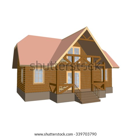 One beautiful house with two floors (3d vector).
