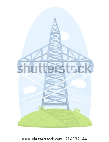 One big high voltage post, isolated on white - stock vector