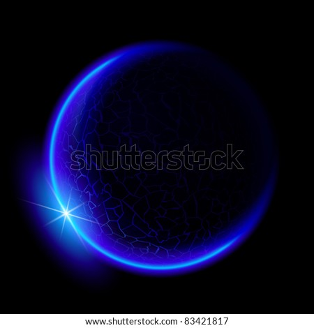 One blue planet in deep space. Black space. Blue Sunset.