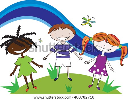 One boy and two girls,  black girl, girl with red hair and boy on the meadow holding hands. Illustration on white background isolated. Children vector. Friendship vector. Girl boy vector. Kids play. - stock vector
