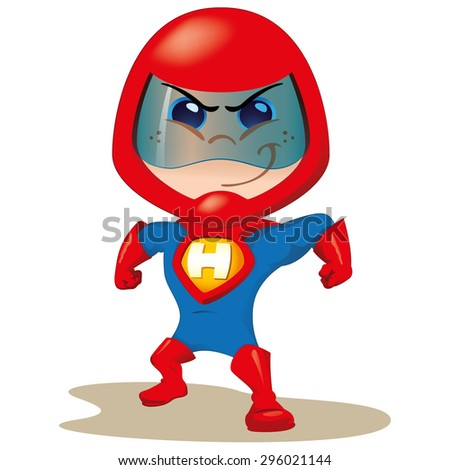 One boy with a uniform super hero or space. Ideal for educational, instructional and institutional material