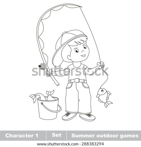 Young Fisherman Cap Caught Fish Rod Stock Illustration 377819074